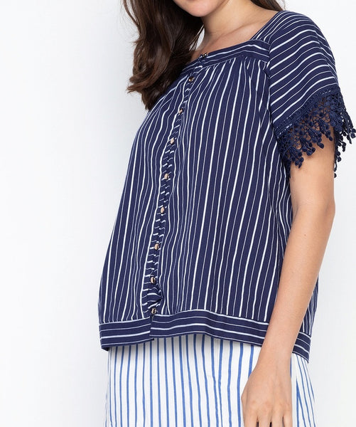 Square Neck Bell Sleeve Blouse