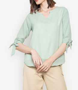 Tie Sleeve Button Front V Neck 3/4 Long Sleeve Blouse