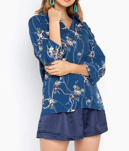 Printed Collared 3/4 Sleeve Blouse
