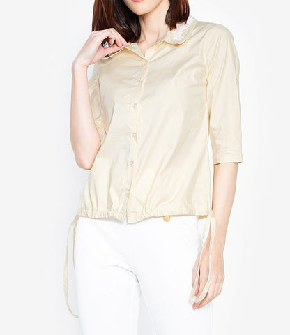 Buttoned Down Drawstring Hem Shirt with Floral Collar Detail