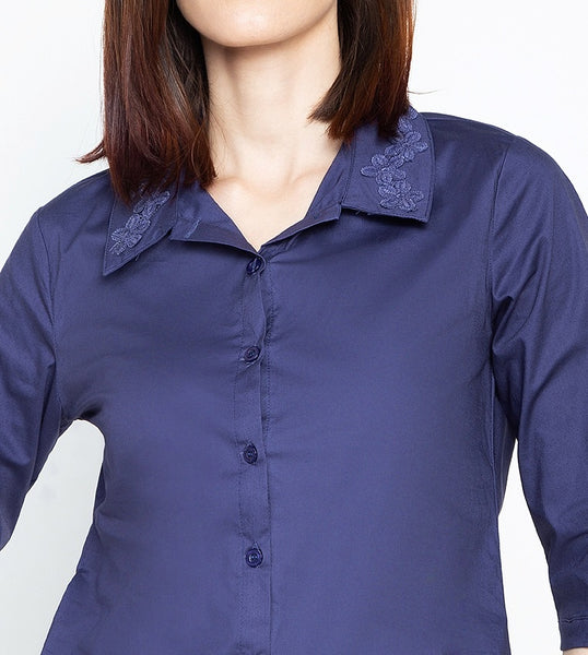 Krizia Buttoned Down Drawstring Hem Shirt with Floral Collar Detail