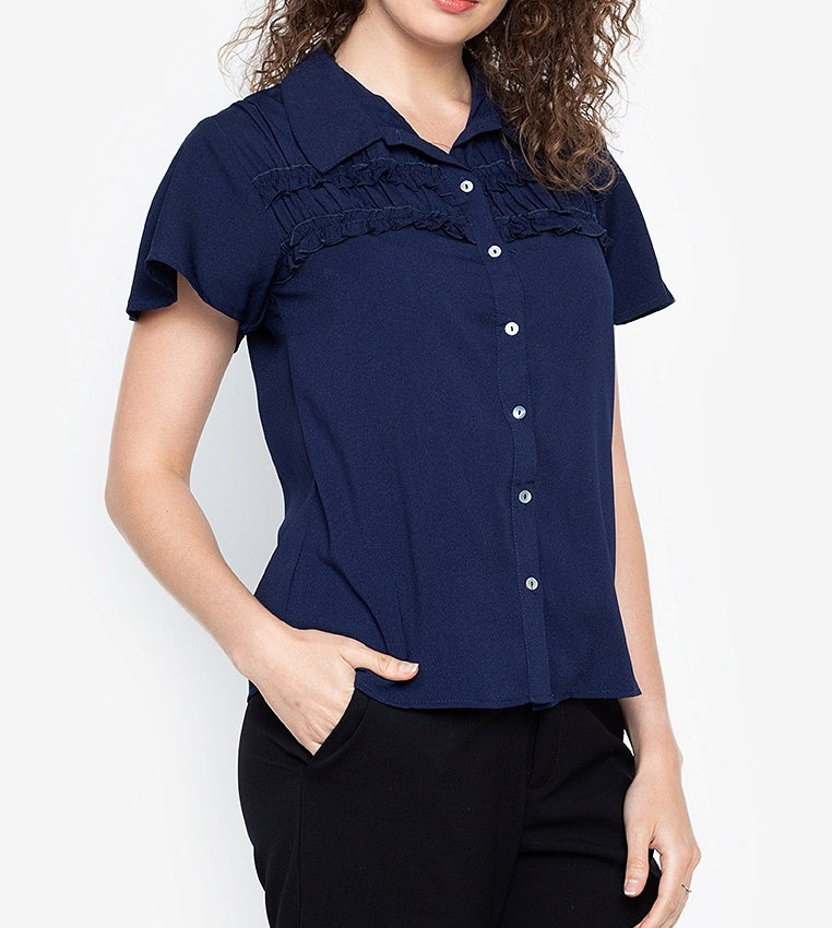 Collared Button Down Blouse with Frills