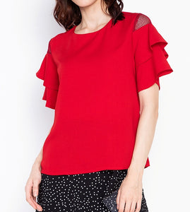 Tiered Sleeve Blouse with Net Detail
