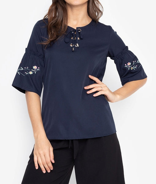 Embroidered Flare 3/4 Long Sleeves Tie-up Blouse