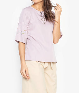 Embroidered Flared Quarter Sleeves Tie-Up Blouse