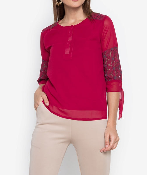 Quarter Sleeves Lace Combination Button Down Blouse
