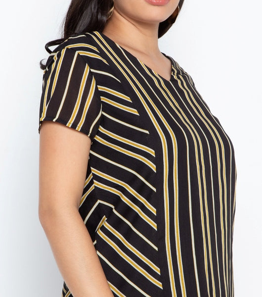 V-Neck Stripes Blouse