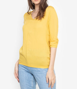 V-Neck 3/4 Long Sleeve Blouse