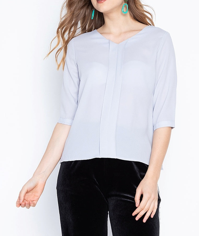 V-Neck 3/4 Blouse with Front Pleat