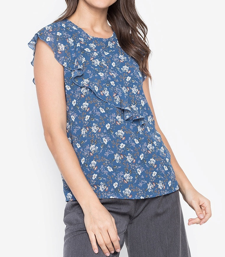 Printed Diagonal Frill Blouse