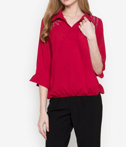 Embroidered  Wrap Long Sleeve Collared Blouse