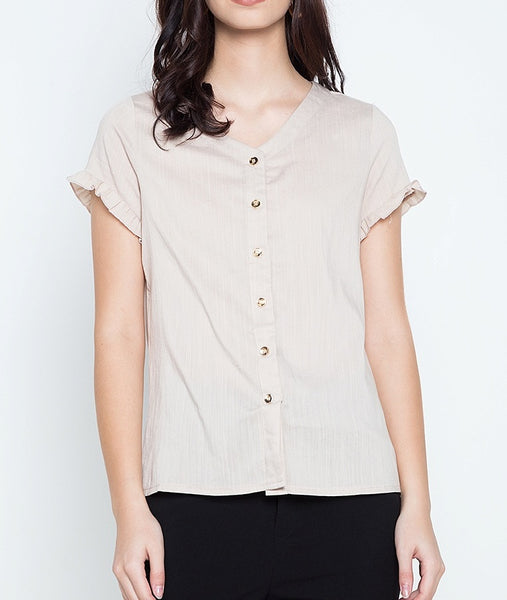 Button Down V-Neck Blouse with Sleeve Frills