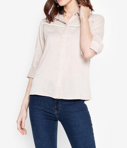 Button Down Stripe Embellished Blouse