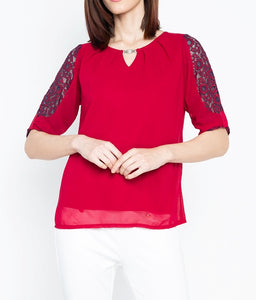 Lace Sleeve Blouse with Neck Detail