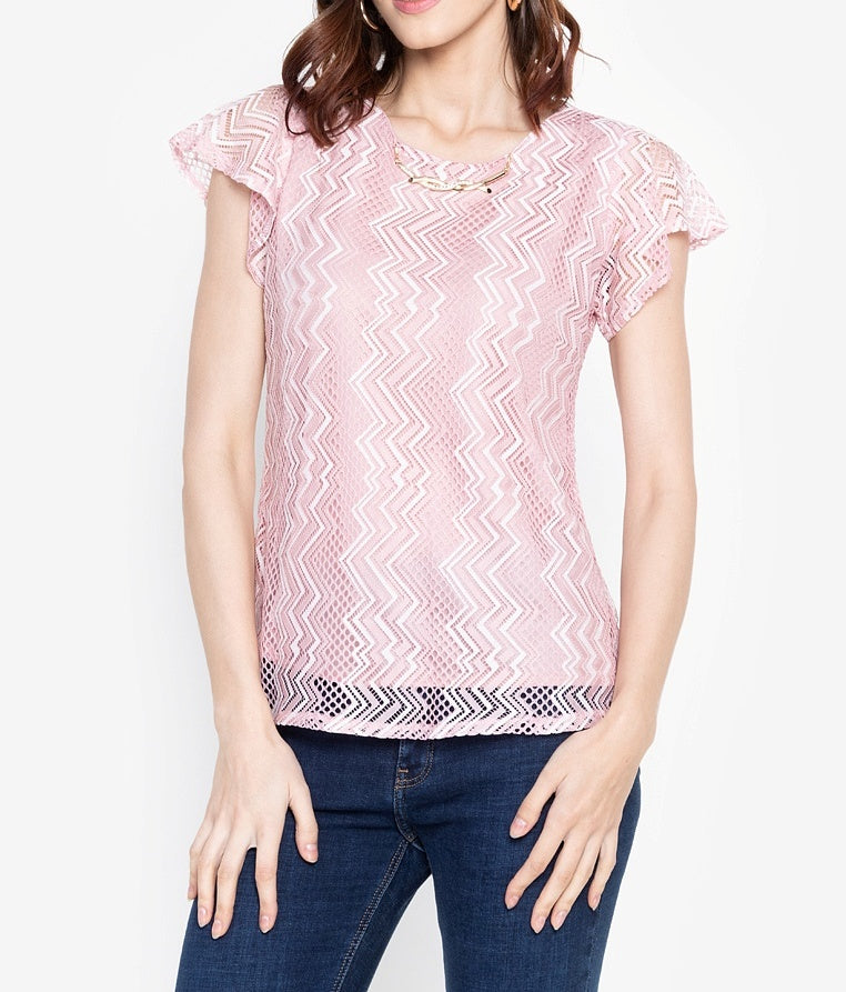 Zigzag Lace Blouse with FREE Necklace