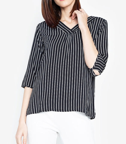 Striped V-Neck 3/4 Long Sleeve Blouse
