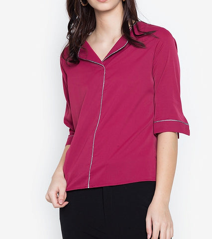 V-Neck Trim 3/4 Long Sleeve Blouse