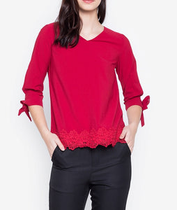 V-Neck Tie Sleeve Blouse with Floral Trim on Hem