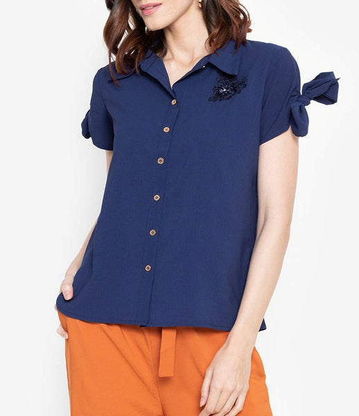 Button Down Tie Sleeve Blouse with Floral Embellishment