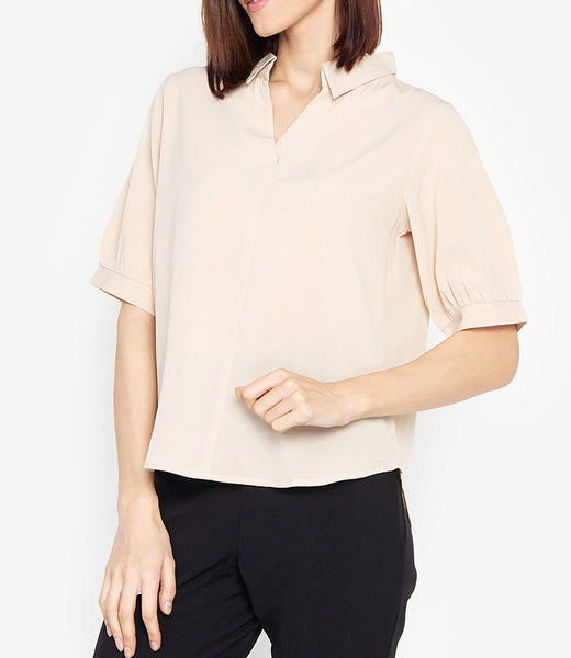 Collared 3/4 Long Sleeve Blouse