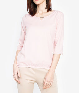V-Cut 3/4 Long Sleeve Blouse with FREE Pearl Accessory