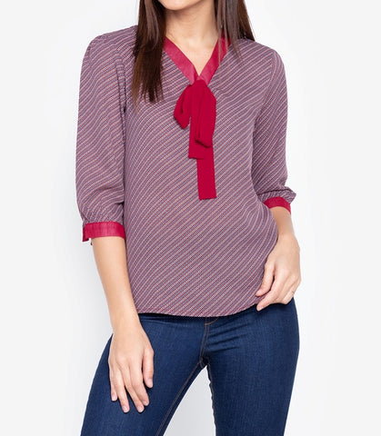 Printed Puffed Sleeve Tie V-neck Blouse