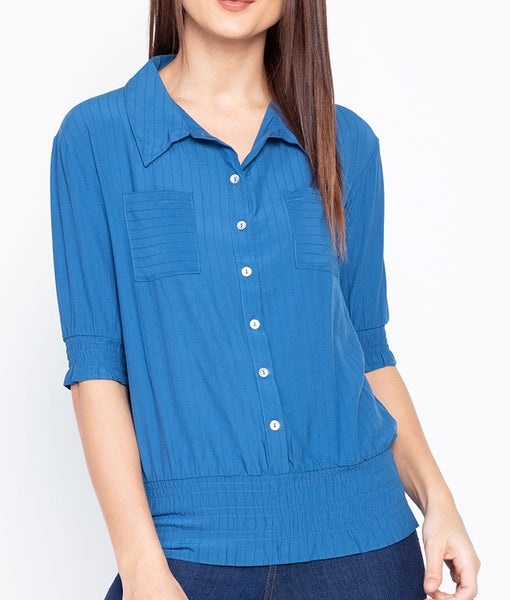 Puffed Sleeve Collared Button Down Blouse with Smocking