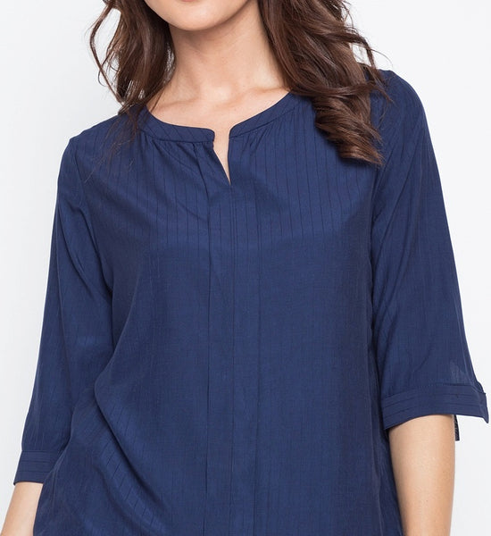 Textured Stripe Soft Rayon V-Cut 3/4 Long Sleeve Blouse