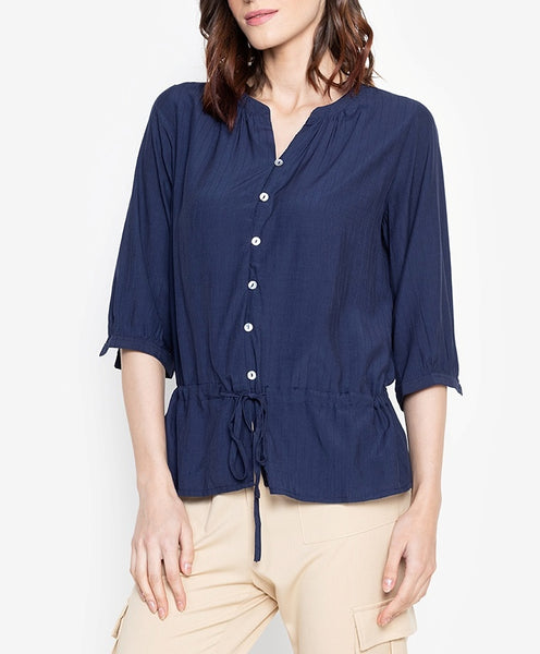 Button Down Tie Waist Blouse