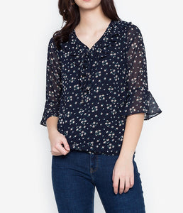 Printed Tie-Up Flared 3/4 Long Sleeve Blouse