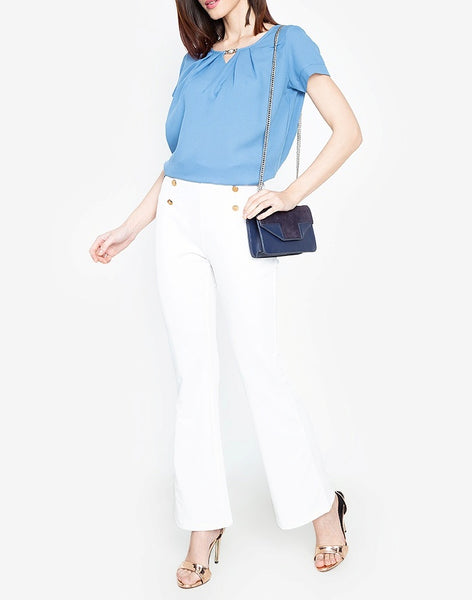 Pleated V-Cut Blouse with Free Crystal Accessory