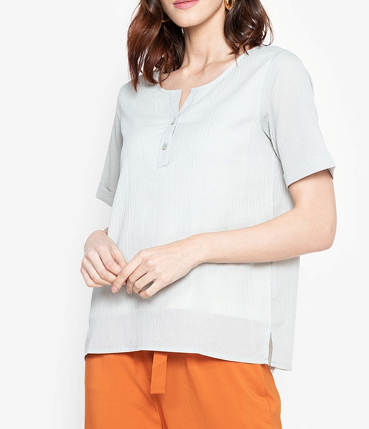 Textured V-Cut Blouse