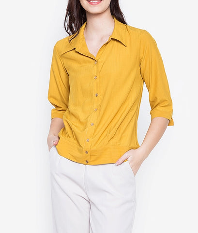 Collared Button Down Blouse with Band Detail