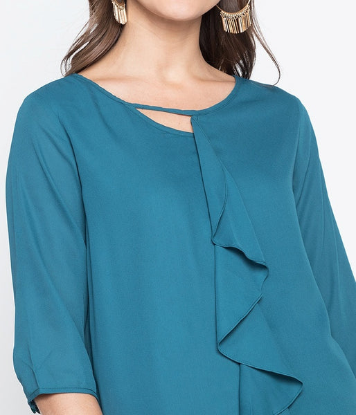 Ruffle Front 3/4 Long Sleeve Flowy Blouse