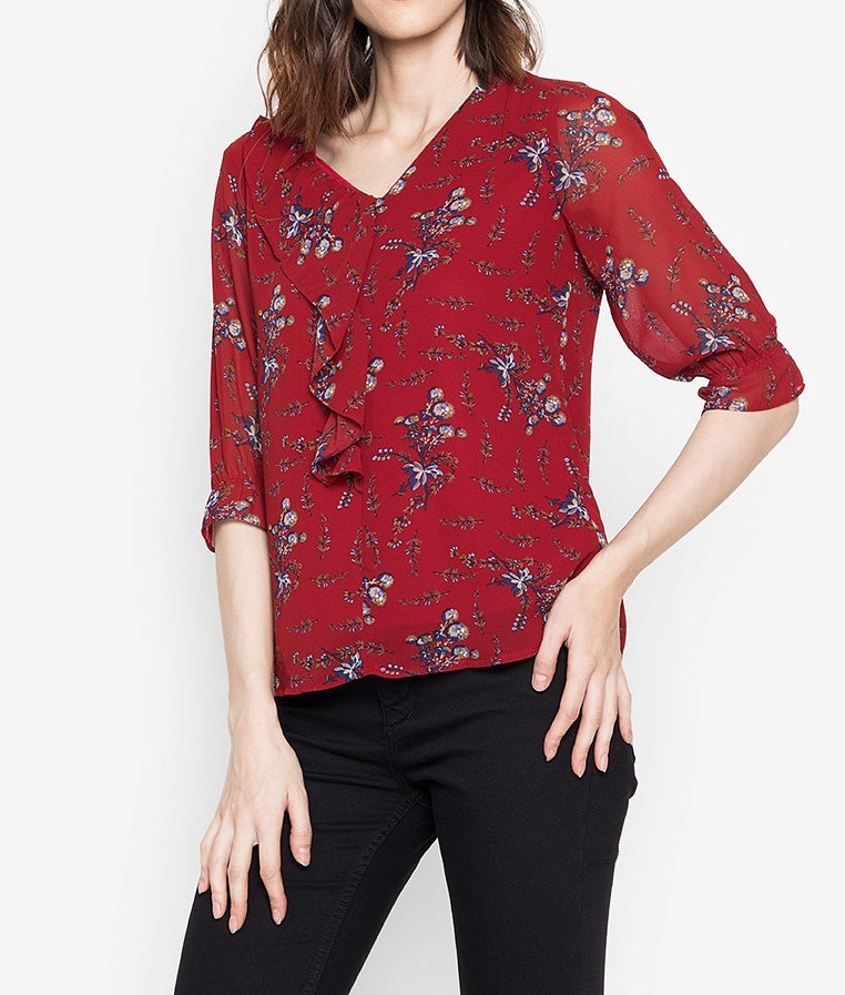 Printed 3/4 Long Sleeve V-Neck Blouse with Frills