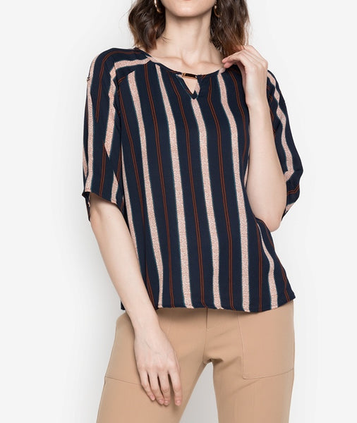 Roll Tab Striped Blouse