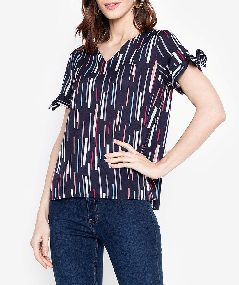 Tie Sleeve V-Neck Printed Blouse