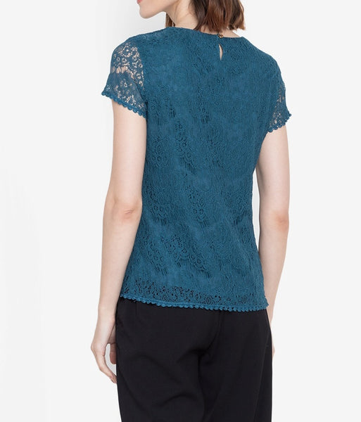 Lace Blouse with Tone on Tone Flower Patches