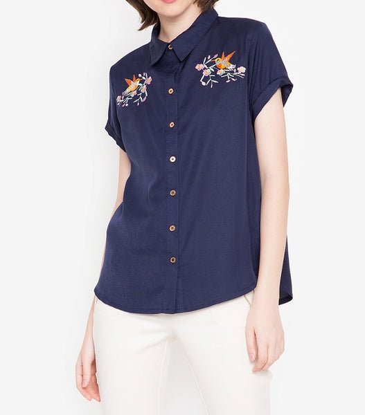 Embroidered Button Down Blouse