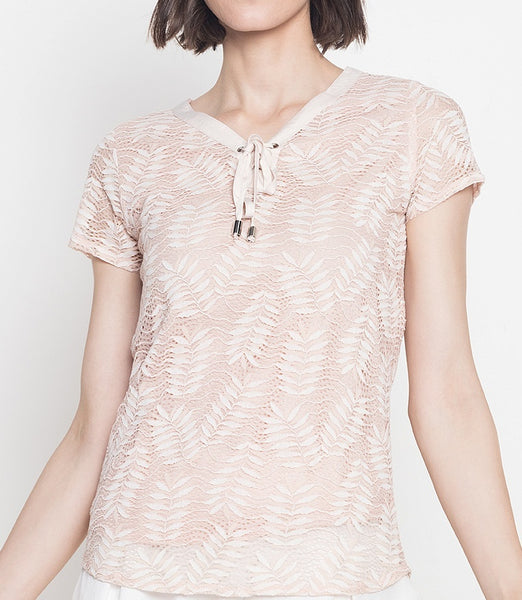 Tie Neck Detail Lace Blouse
