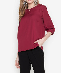 Slit Front 3/4 Long Sleeve Blouse