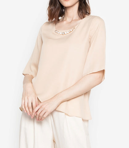 Overlap Flare Sleeve Blouse with FREE Necklace