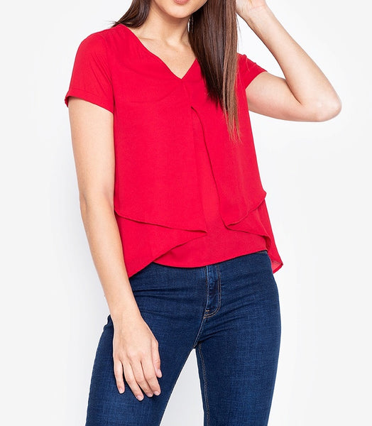 V-neck Overlay Georgette Blouse