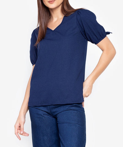 Puffed Sleeve V-neck Blouse