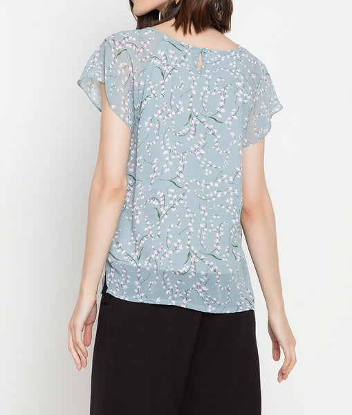 Bell Sleeve Printed Blouse with Metal Detail