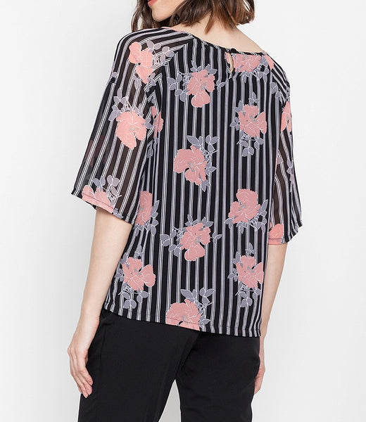 Printed V-Cut Blouse