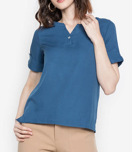 V-Cut Blouse with Statement Button