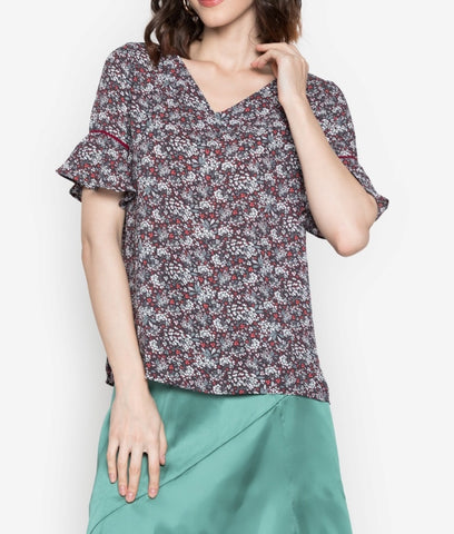 Printed Flowy Georgette Blouse with Sleeve Piping