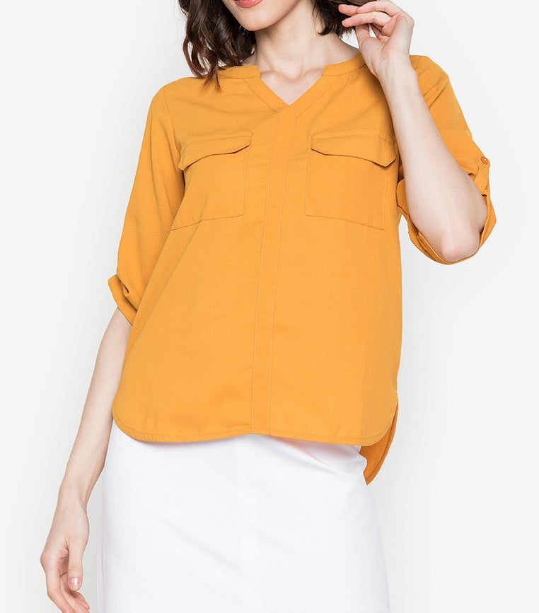 V-Neck Pocket Detail 3/4 Long Sleeve Blouse