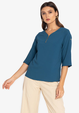 Krizia Roll Tab Sleeve Zipper Blouse Top